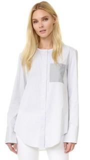 Атласная рубашка с длинными рукавами в полоску Tome