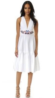 Платье из твила с оборками и вышивкой Cynthia Rowley