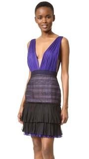 Платье с V-образным вырезом и кружевной юбкой J. Mendel