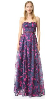 Вечернее платье из органзы с вышивкой Marchesa Notte