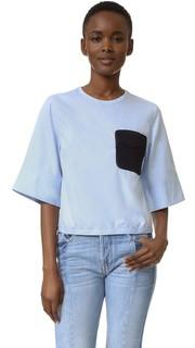 Модная свободная футболка со связанным крючком карманом 3.1 Phillip Lim