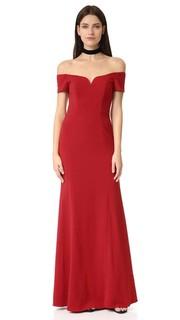 Вечернее платье с короткими рукавами и открытыми плечами Badgley Mischka Collection