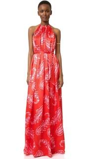 Вечернее платье с американской проймой и узором «павлиний глаз» Cynthia Rowley