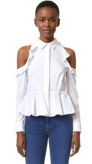Рубашка с оборками и вырезами на плечах Jonathan Simkhai