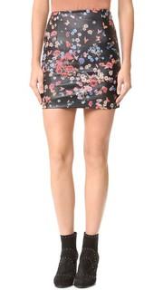 Мини-юбка из кожи с цветочным принтом The Kooples