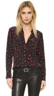 Строгая облегающая фирменная блуза Kate Moss Equipment