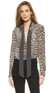 Узкая фирменная блуза Kate Moss со съемными завязками Equipment