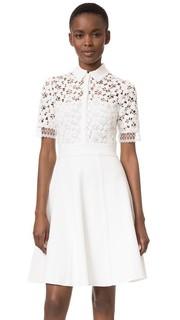 Платье-рубашка из кружева и трикотажа Lela Rose