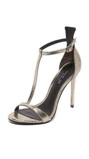 Металлизированные сандалии Tee с T-образным ремешком Rachel Zoe