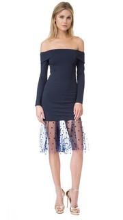 Платье с открытыми плечами и сетчатой отделкой Michelle Mason