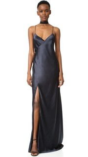 Вечернее платье с бретельками и запахом Michelle Mason