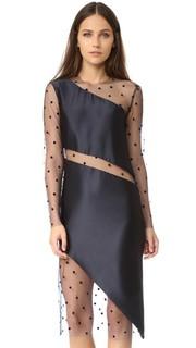 Сетчатое платье косого кроя с длинными рукавами Michelle Mason