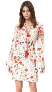 Шелковое мини-платье с цветочным принтом в стиле хиппи The Kooples