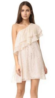 Платье с открытым плечом и оборками Rachel Zoe