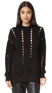 Пуловер с вязкой косичками и разрезами Alexander Wang