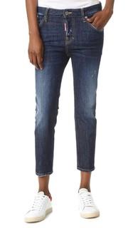Укороченные джинсы Cool Girl с заплатками Dsquared2