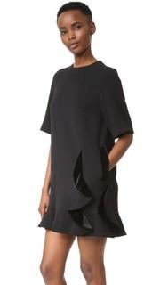 Платье с мелкими сборками и бархатной отделкой Sjyp