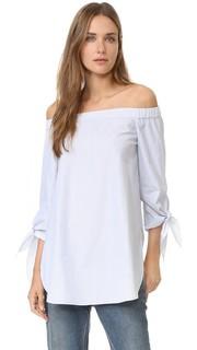 Блуза в полоску с открытыми плечами Tibi