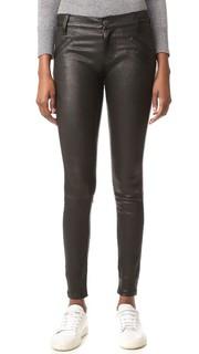 Кожаные брюки с прорезными карманами Current/Elliott