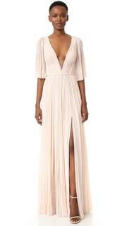 Плиссированное вечернее платье с глубоким V-образным вырезом J. Mendel
