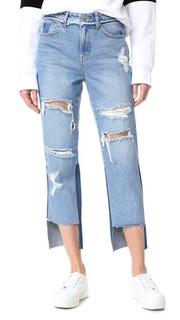 Искусственно состаренные джинсы с разрезами спереди Sjyp
