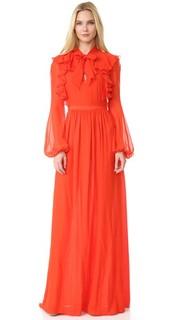 Вечернее платье с длинными рукавами и оборками Giambattista Valli