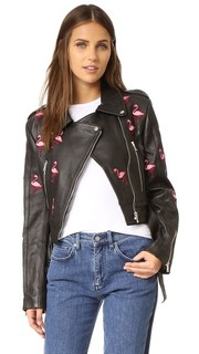 Кожаная куртка с изображениями фламинго JN by JN Llovet