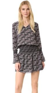 Платье с длинными рукавами, V-образным вырезом и мелкими сборками на юбке Derek Lam 10 Crosby
