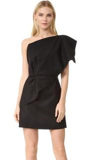 Платье с открытым плечом и оборками Jacquemus