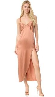 Длинное платье-комбинация с перекрещивающимися на спине бретельками Michelle Mason