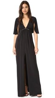 Вечернее платье с оборчатыми рукавами и V-образным вырезом Halston Heritage