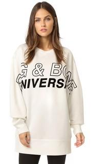 Объемный пуловер с рисунком в байкерском стиле Rag & Bone