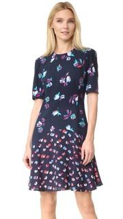 Платье с комбинированным принтом и короткими рукавами Rebecca Taylor