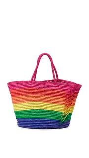 Объемная сумка с короткими ручками Candy-Stripe с бахромой Sensi Studio