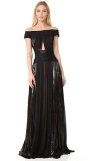 Вечернее платье с открытыми плечами J. Mendel