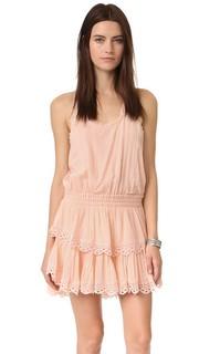 Мини-платье со спиной-борцовкой и оборками Loveshackfancy