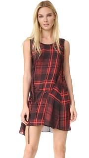 Клетчатое платье с драпировкой и узлом McQ - Alexander Mc Queen