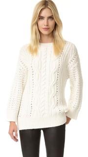 Пуловер с округлым вырезом и перекрученной отделкой, заплетенной колосом The Kooples