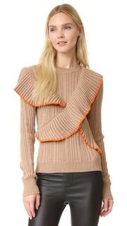 Пуловер с длинными рукавами и оборками Msgm