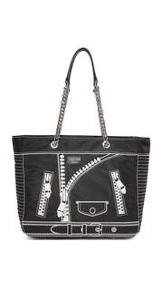 Объемная кожаная сумка с короткими ручками Moschino
