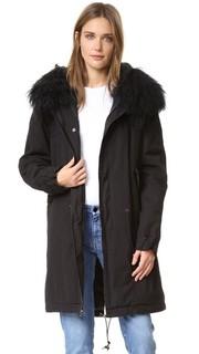 Черное пальто с меховой отделкой Mr & Mrs Italy