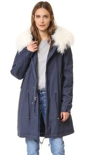 Темно-синее пальто с меховой отделкой Mr & Mrs Italy