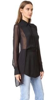 Рубашка на пуговицах до половины длины с прозрачной спиной Dkny