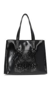 Объемная сумка с короткими ручками Tiger из лакированной кожи Kenzo