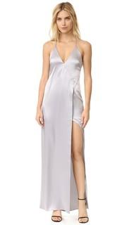 Платье-комбинация с V-образным вырезом и высоким разрезом Halston Heritage