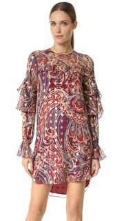 Платье с длинными рукавами и оборками Haute Hippie