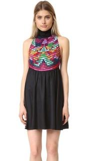 Платье с вышивкой и высокой горловиной Mara Hoffman