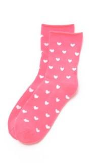 Флисовые носки с отворотами и изображением сердечек Plush