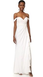 Вечернее платье с открытыми плечами Badgley Mischka Collection