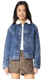 Короткий пиджак из денима с искусственным мехом Helmut Lang